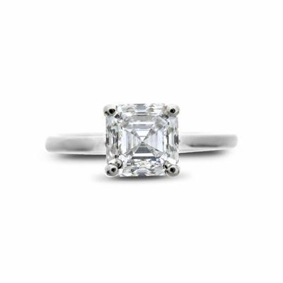 Asscher Cut Single Stone Claw Set Diamond Ring 1.10ct E VVS2 GIA